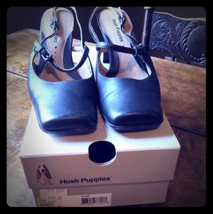 Square toe mary jane heels from hush puppy.